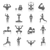 Bodybuildingsymbolsuppsättning Arkivfoton