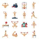 Bodybuildingsymbolsuppsättning Arkivfoto