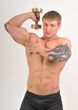 Bodybulder with weights Royalty Free Stock Photography