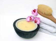 Bodycare Badekurort-Produkte Stockfoto