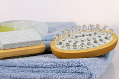 Bodycare Items. Set of body-care items for the bathroom stock images