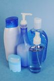 Bodycare items. Personal hygiene ,various bottles stock images