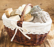 Free Bodycare Products In A Wicker Basket Stock Photo - 50945110