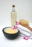 Bodycare Products spa. Natural products for a cleansing bodycare session in spa Royalty Free Stock Photo