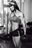 Bodyfitness champion of world ladies cup training in gym Stock Image