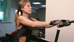 Bodyfitness workout. Athletic trainer for arms and back stock video footage