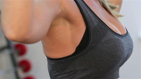 Bodyfitness workout. Exercises with dumbbells stock footage