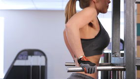 Bodyfitness workout. Pulling up on the bars stock video footage