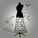 Bodyform  mannequin. With flourish owl and bird design  elements Stock Images