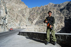 Bodyguard. Along the famed Maheeper Pass outside of Kabul I approached a bodyguard protecting his VIP stock photos