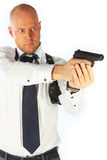 Bodyguard. The young man with a pistol Stock Photos
