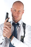 Bodyguard. The young man with a pistol Royalty Free Stock Photo