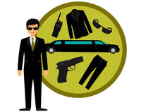 Bodyguard. And accessories. The gun, suit and a limousine. Vector illustration Royalty Free Stock Photo