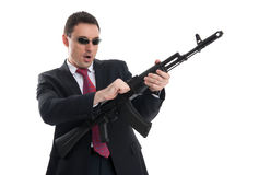 Bodyguard with automatic rifle Stock Photo