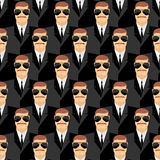 Bodyguard. Seamless pattern of men in glasses. Secret agents. Se Royalty Free Stock Images