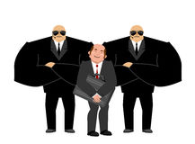 Bodyguard Services and businessman with suitcase. VIP protection Stock Photo
