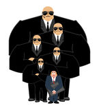 Bodyguard Services and businessman with suitcase. VIP protection Royalty Free Stock Images