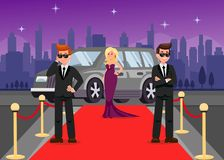 Bodyguards and Female Celebrity Cartoon Characters stock illustration