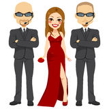Bodyguards With Super Star Royalty Free Stock Photography