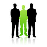 Bodyguards vector. Vectored illustration as silhouette of a very important person protected by a bodyguard to each side Stock Images