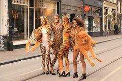 Bodypainted  models in the street Stock Image