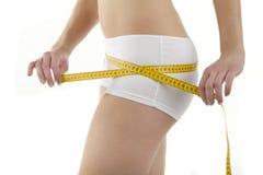 Bodyparts van jonge vrouw neemt bodyindex Stock Afbeeldingen