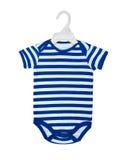 Bodysuit младенца на вешалке для одежд на белизне стоковая фотография rf