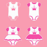 Bodysuit for girls. Set of icons of children`s clothes for newborn girl. Bodysuit for little princess. Vector illustration Royalty Free Stock Photo