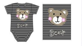 Bodysuit van de babyjongen technisch schets en kunstwerk met druk of applique van teddybeergezicht Royalty-vrije Stock Afbeelding