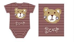 Bodysuit van de babyjongen technisch schets en kunstwerk met druk of applique van teddybeergezicht Royalty-vrije Stock Fotografie