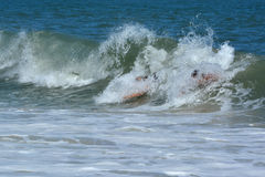 Bodysurfers Catching a Wave Stock Image