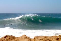 Bodysurfers at wedge Stock Photos