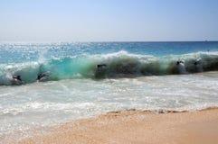 Bodysurfing沙滩夏威夷 免版税库存照片