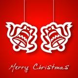 Boże Narodzenia dwa dzwonu applique tło Zdjęcia Stock