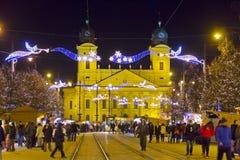 Boże Narodzenie rynek w Debrecen, Węgry Fotografia Royalty Free
