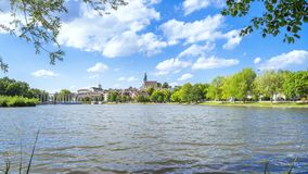 Boeblingen lake with view to the church. An image of the city of Boeblingen in Germany stock images