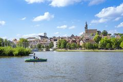 Boeblingen lake with view to the church. An image of the city of Boeblingen in Germany stock image
