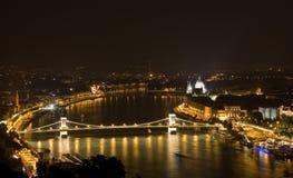 Boedapest in de nacht Royalty-vrije Stock Fotografie