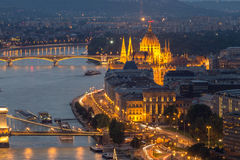 Boedapest en de Rivier Donau Stock Foto's