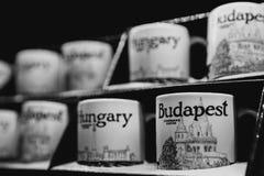 Boedapest, Hongarije - Januari 01, 2018: Kop van het close-up de ceramische embleem van Starbucks Boedapest in de winkel in Starb stock foto's