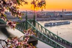 Boedapest, Hongarije - Mooie de lentezonsopgang in Liberty Bridge met cruiseschip op Rivier Donau en Cherry Blossom stock foto