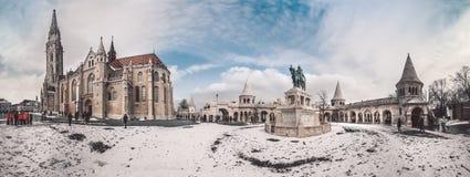 Boedapest, Hongarije Panorama van historisch deel van stad royalty-vrije stock foto