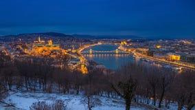 Boedapest, Hongarije - Panoramische horizonmening van Buda Castle Stock Afbeeldingen
