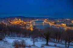 Boedapest, Hongarije - Panoramische horizonmening van Buda Castle R Royalty-vrije Stock Fotografie