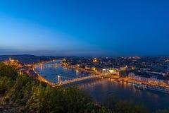 Boedapest 's nachts Donau Stock Afbeeldingen