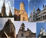 Boedapest tegen dag - collage Royalty-vrije Stock Foto's