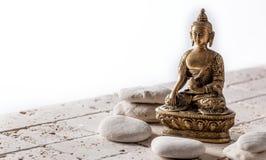 Boeddhisme en mindfulnesssymbool voor meditatie en welzijn, exemplaarruimte royalty-vrije stock afbeelding