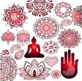 Boeddhisme, stickerreeks Stock Afbeelding