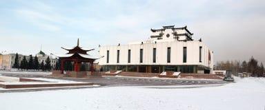 Boeddhistisch gebedwiel en dramatisch theater Royalty-vrije Stock Afbeeldingen