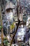 Boeddhistische de grottenstandbeelden van de Lingyintempel klippe Stock Fotografie